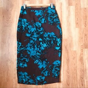NWOT Who What Wear Floral Midi Pencil Skirt Sz 2